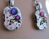 Steampunk watch earrings - Almost Time  - Steampunk Earrings - A/B Blues - Repurposed art