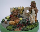 Spring Garden Scene with two Bears by Helen's Clay Art