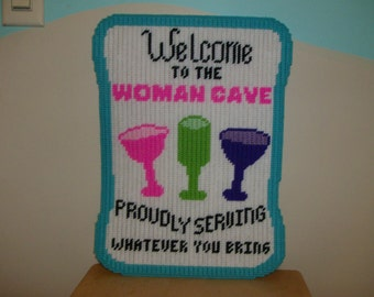 Welcome to the Woman Cave Wall Hanging, Handmade Sign Welcome to the Woman Cave