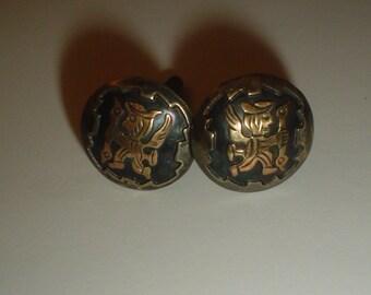 Silver cufflinks sterling and 18K gold Peru Peruvian Aztec vintage [CL5]