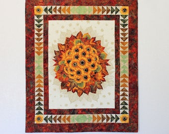 CUSTOM ORDER for TNitcher Only - Autumn Wall Hanging Quilted Panel - Sunflower Quilted Wall Hanging, Flying Geese Border, Fall Wall Quilt