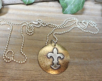 Fluer dis lis pendant, brass and silver fleur dis lis necklace, mixed metal designs, brass and silver necklace, nickel free jewelry,