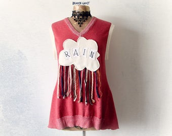 Rain Cloud Applique Shirt Colorful Fringe Upcycled Sweatshirt Casual Clothing V-Neck Sweater Boho Chic Womens Red Tunic Art To Wear L 'ERIN'