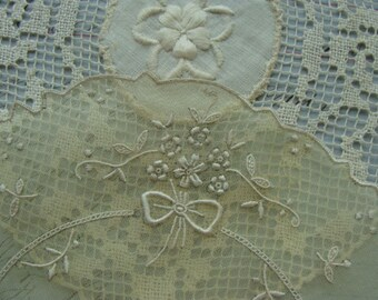 Gorgeous Embroidered Antique Ivory/Off Whitework Handmade Doilies Lot