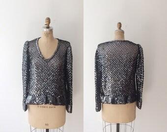 sequin blouse / vintage knit blouse / Prism blouse