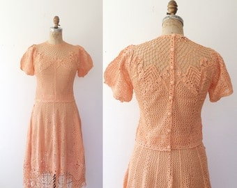 vintage crochet dress / peach lace dress / Milena Cotton Crochet dress