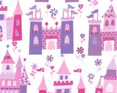 SALE FABRIC - Princess Castles - Michael Miller Fabrics - 100% Cotton Fabric - 1 yard - Pink and Purple Castles - Pink Princess Castles