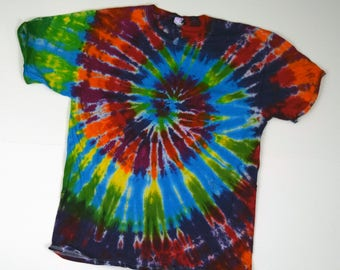 Rainbow Spiral Tie Dye T-Shirt  (Fruit of the Loom Heavy Cotton HD Size L) (One of a Kind)