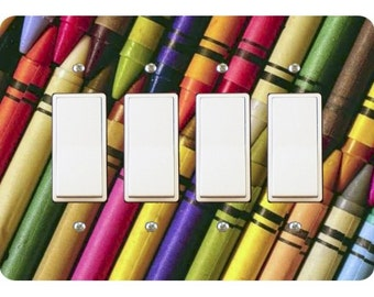 Coloring Crayons Quadruple Decora Rocker Light Switch Plate Cover