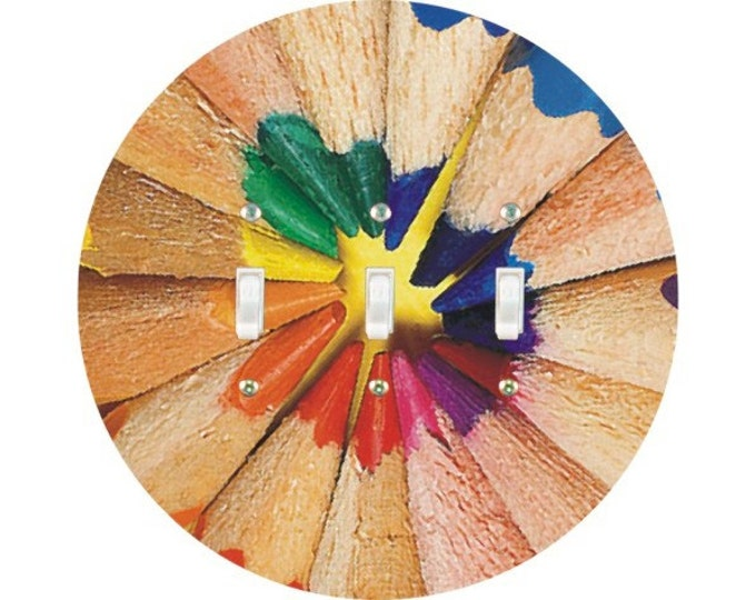 Pencil Color Wheel Triple Toggle Light Switch Plate Cover