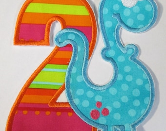 Birthday Dinosaur  Fabric Embroidered Iron On Applique Patch