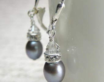 Silver Pearl Earrings, Freshwater, Sterling Silver, Drop, Wedding, Bridesmaid, Handmade Jewelry, June Birthday