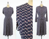40s Dress Novelty Print Medium / 1940 Vintage Dress Set Rayon / Art Deco Dress and Jacket Suit
