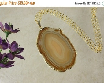 SALE Brown Agate Pendant, Agate Necklace, Crystal Agate Slice, Agate Slice, Gold Plated Agate, APS53