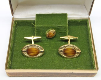 vintage Dynasty tiger's eye set in gold Metal Cuff links,Cuff links & Tie Tack,tiger's eye cuff links,Original Box,man's gift,prom