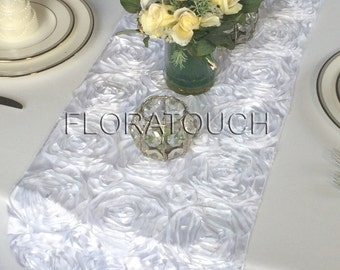 White Satin Ribbon Rosette Wedding Table Runner