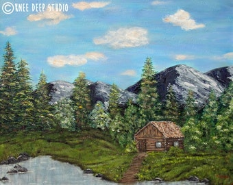 Rustic Contemporary Landscape Painting 24x30 Fine Art Acrylic on Canvas mountains cabin trees wilderness home blue green large wall decor
