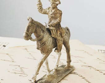 Vintage Cast Metal Military Figure and Horse