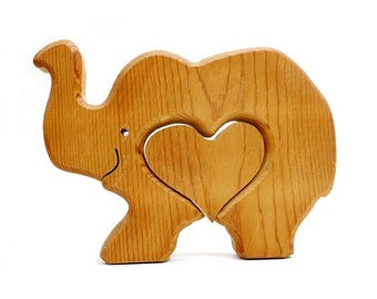 Vintage Wooden Elephant Figure / Elephant Heart Puzzle Piece / Wood Carrying Crate Box /