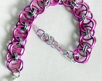 Pink and Silver Helm Weave Chainmaille Bracelet