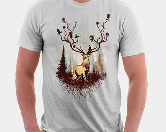 A Rustic Hat Rack Shirt  - Original Art Shirt | T-shirt for Women Men | hunting tee | unique t shirt | bears | surreal | drawsgood | deer