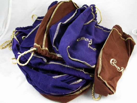 Lot of 14 Crown Royal Whisky 3 brown 11 purple embroidered drawstring bags / craft supply / quilt / quilting / art / craft / upcycle