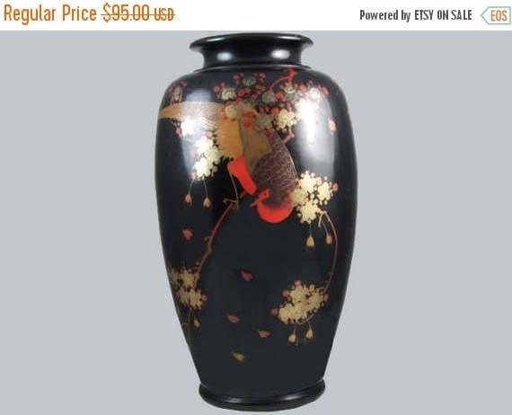 SPRING CLEANING SALE Extra large black vintage hand painted Birds and floral Japanese metal urn vase / metalware / shakudo / Asian / Orienta