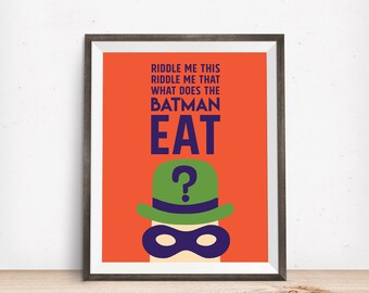 The Riddler Batman birthday party decor food art print printable downloadable file