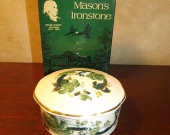 Vintage Masons Ironstone Trinket Box Chartreuse  England