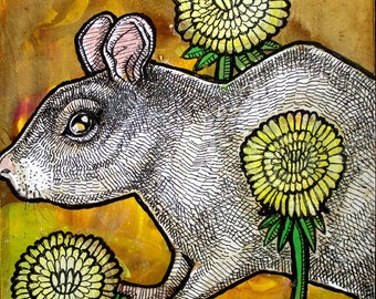 Original Dandelion and Rat Miniature Art by Lynnette Shelley