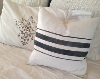 French Grainsack White Linen Pillow with Black Stripes  Farmhouse/Beach Cottage/Coastal/Lakehouse
