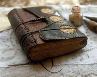 Contemplation - Recycled Rustic Leather Journal, Tea-Stained Pages, Vintage Lace - OOAK