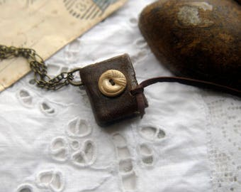 Tiny Tales - Mini Wearable Book, Brown Recycled Leather, Vintage Button, Aged Paper - OOAK