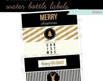 Christmas Water Bottle Labels, Printable Drink Wrappers, Holiday Party, Christmas Party, Black and Gold Christmas, Instant Download