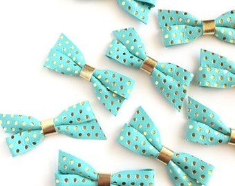 Tiffany Blue and Gold Polka Dot Bow, Hair Bow, Hair Clip, Baby Bow, Pig Tail Bows, Leather Hair Clip