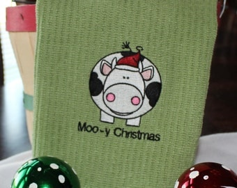 Moo- y Christmas Embroidered Christmas Kitchen Towel