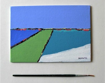 """Original blue and green Abstract acrylic painting, landscape, seacape, 5"""" x 7"""", turquoise and white, small art canvas, gift idea"""