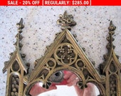 Antique Gothic Mirror Bronze Quatrefoils Tracery