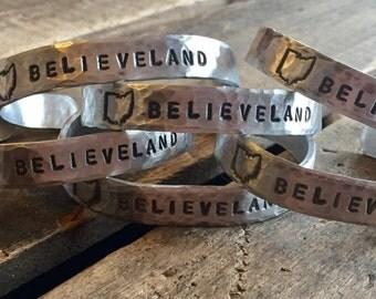 "Believeland Cleveland Cavaliers Indians Hand Stamped Hammered Texture Adjustable Aluminum Cuff 3/8""x 6"""