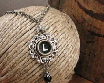 Personalized Necklace - Typewriter Key Jewelry - Black Initial L Typewriter Key on Flowery Filigree Antique Silver Pendant/Necklace
