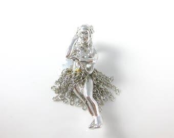 Vintage Sterling Silver Hula Dancer with Moving Dress