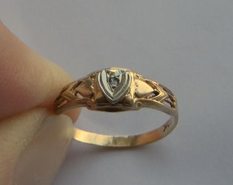 Antique Baby Ring, solid 10K Y Gold with a tiny diamond, size 3; free US first class shipping on vintage items
