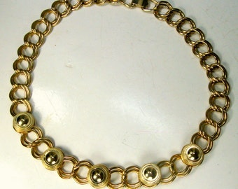 Early CORO Gold Chain Classic CHOKER Necklace,  Art Deco Circle Focals, 1950s Mid Century Industrial