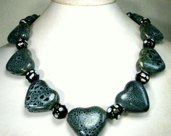 Gray HEART Bead Necklace, 1990s, Speckled Chinese Porcelain Bead Spacer, OOAK by Rachelle Starr, Tired of Red Valentines