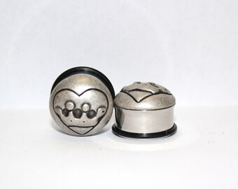 "Silver King Of Heart Plugs 3/4"" 19mm Single Flare"