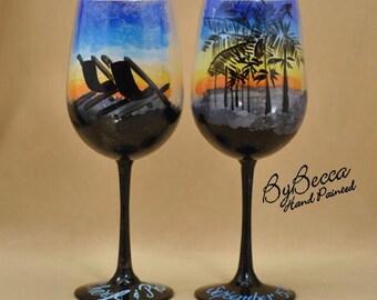 Beach at Sunset pair of Hand Painted Wine Glasses