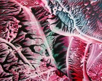5X7 Teal, Marsala Abstract Encaustic (Wax) Original Painting / Beeswax Painting / Postcard Size Desk Art / SFA (Small Format Art)