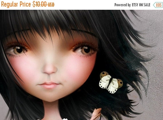 "Cyber Monday sale 5x7 Premium Art Print ""Joanna May"" Small Size Giclee Print of Original Artwork - Cute Little Dark Haired Girl"