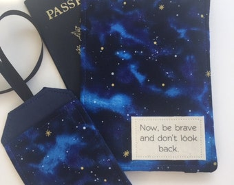 """Passport Cover Luggage Tag Set, Star Wars Quote """"Now Be Brave and Don't Look Back""""  Passport Wallet, Passport Holder"""