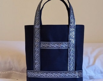 NEW BIBLE TOTE  Special Price  Perfect Size for your Bible, Journal, Pens, Study guides. Glistening Decorative trim on sturdy Black Canvas.